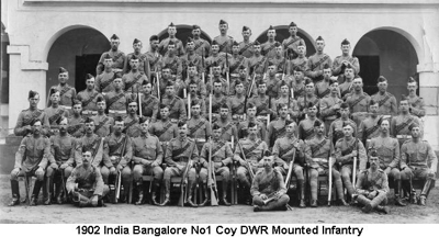 1902 India Bangalore No1 Coy DWR Mounted Infantry