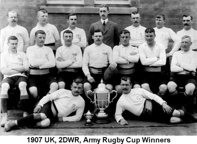 1907 UK 2DWR Army Rugby Cup Winners