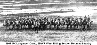 1907 UK Longmoor Camp West Riding Section Mounted Infantry