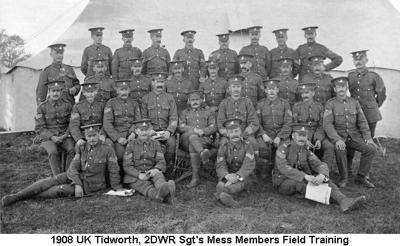 1908 UK Tidworth 2DWR Sgts Mess Members Field Training