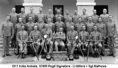 1911 India Ambala 1DWR Regtl Signallers - Lt Millers + Sgt Mathews