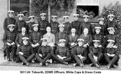 1911 UK Tidworth 2DWR Officers White Caps & Dress Coats