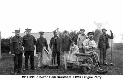 1914-1918c Belton Park Grantham 8DWR Fatigue Party