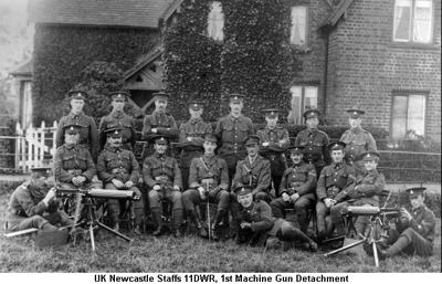 1915 UK Newcastle Staffs 11DWR 1st Machine Gun Detachment