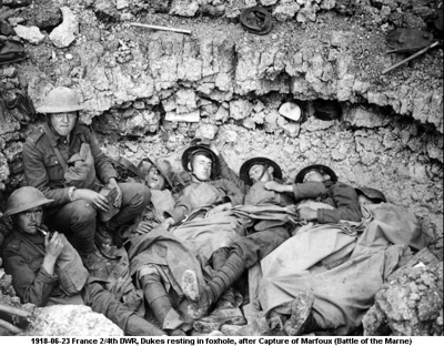 1918-06-23 France 2nd 4th DWR Dukes resting after Capture of Marfoux