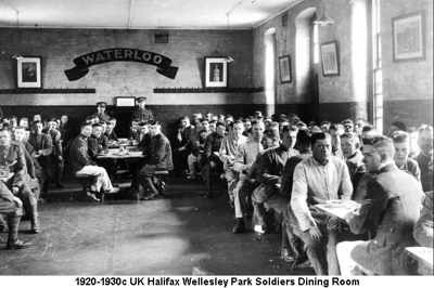 1920-1930c UK Halifax Wellesley Park Soldiers Dining Hall