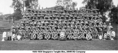 1926-1928 Singapore Tanglin Bks HQ Coy