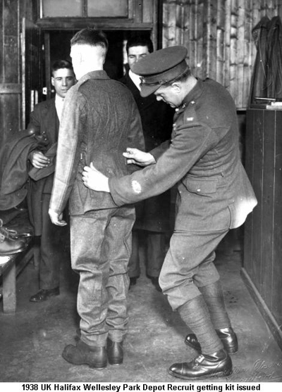 1938 UK Halifax Wellesley Park Depot Recruit getting kit issued