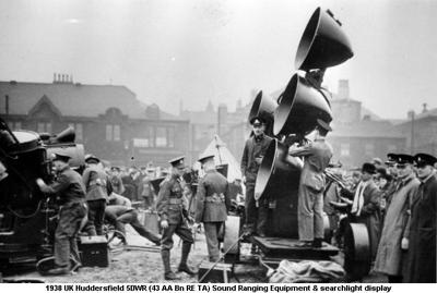 1938 UK Huddersfield 5DWR (43 AA Bn RE TA) Sound Ranging Equipment & searchlight display