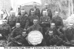 1914c UK Laceby Village 5DWR TF at Annual Trg Camp just days prior to WW1