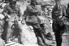 1915 France 1st 4th DWR Capt Stanton Adj & Capt Mowat wearing PH Helmets