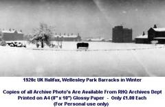 1920c UK Halifax Wellesley Park Bks Parade Square in Winter