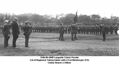 1940 UK Langside 9th DWR Colour Parade CoR Taking Salute