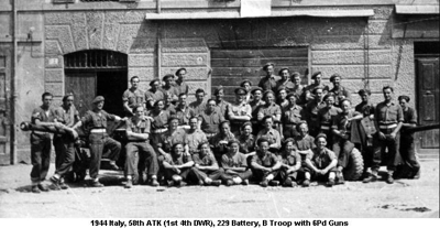 1944 Italy 58th ATK (1st 4th DWR) 229 Battery B Troop photo