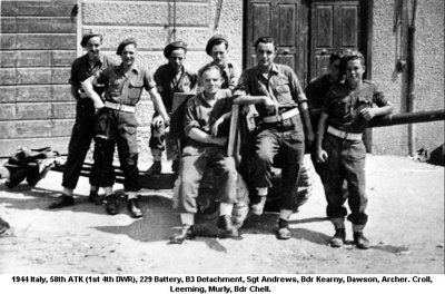 1944 Italy 58th ATK (1st 4th DWR) 229 Battery B3 Detachment