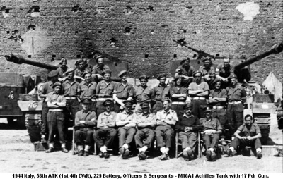 1944 Italy 58th ATK (1st 4th DWR) 229 Battery Officers & Sergeants
