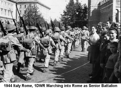 1944 Italy Rome 1DWR Marching into Rome