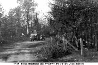 1945-04 Holland 1st 7th DWR Guns advancing towards Ede