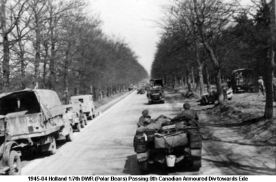 1945-04 Holland Haalderen area 1st 7th DWR Passing 8th Canadian Armoured Div towards Ede