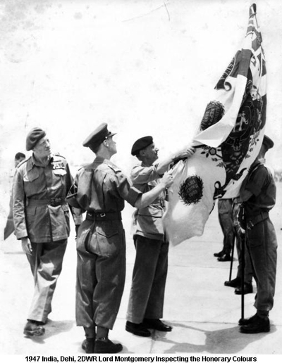 1947 India Dehli 2DWR Lord Montgomery Inspecting The Honorary Colours