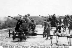 1949 UK Norfolk Stiffkey, 6DWR (673 LAA Rgt RA) Annual Camp Shooting towed drones