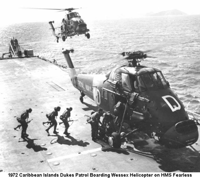1972 Caribbean Exercise Sun Pirate Dukes Patrol Boarding Wessex Helicopter on HMS Fearless