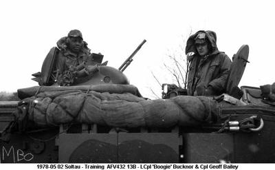 1978-05 02 Soltau - Training  AFV432 13B - LCpl Boogie Bucknor & Cpl Geoff Bailey