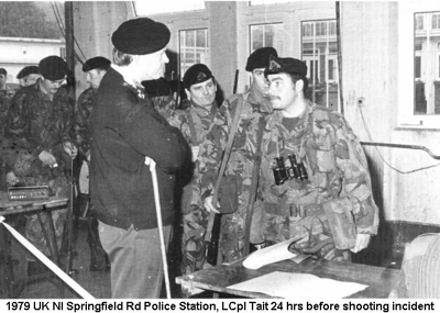 1979 UK NI Springfield Rd Police Station LCpl Tait 24 hrs before getting shot