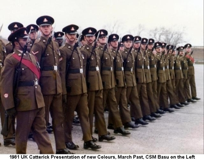 1981 UK Catterick Presentation of new Colours - March Past CSM Basu on the Left