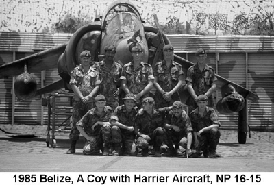 1985 Belize A Coy with Harrier Aircraft NP 16-15