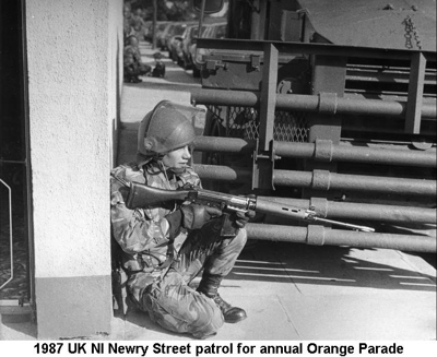 1987 UK NI Newry Street patrol for annual Orange Parade