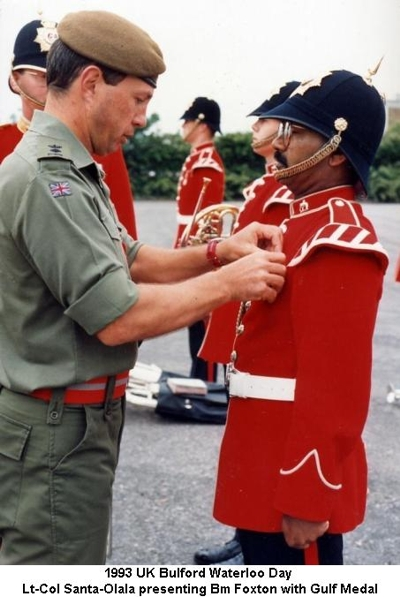 1993 UK Bulford Waterloo Day LtCol Santa-Olala presenting Bm Foxton with Gulf Medal