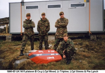 1998-03 UK NI 5 platoon B Coy LCpl Wood - Lt Triplow - LCpl Simms & Pte Lynch