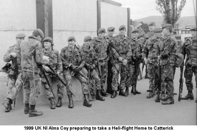 1999 UK NI Alma Coy preparing to take Heli-flight to Catterick