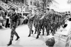 1985 Belize Alma Coy marching through Belize City