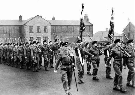 1953 UK Halifax Wellesley handing in Colours prior to Korea