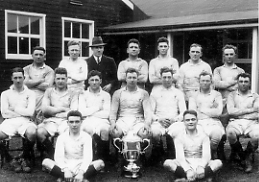 The 1st Battalion 1931/32 Team Captained by Lt Miles Winners of the Army Cup Score = 1DWR (21) - Trg Regt RE (0)