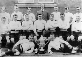 The 2nd Battalion 1906/07 Team, Captained by Capt Denton Winners of the 1st Army Cup Match Score = 2DWR (5) - Trg Batt RE (0)