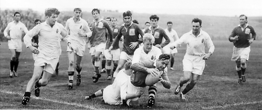 Cpl FieldScoring a Try in the 1959 Match against Ulster