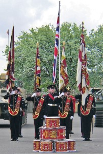 Colours and drums of the Regiment