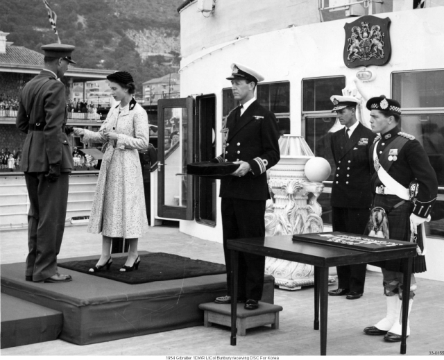 1954 Gibralter 1DWR LtCol Bunbury receiving DSC For Korea