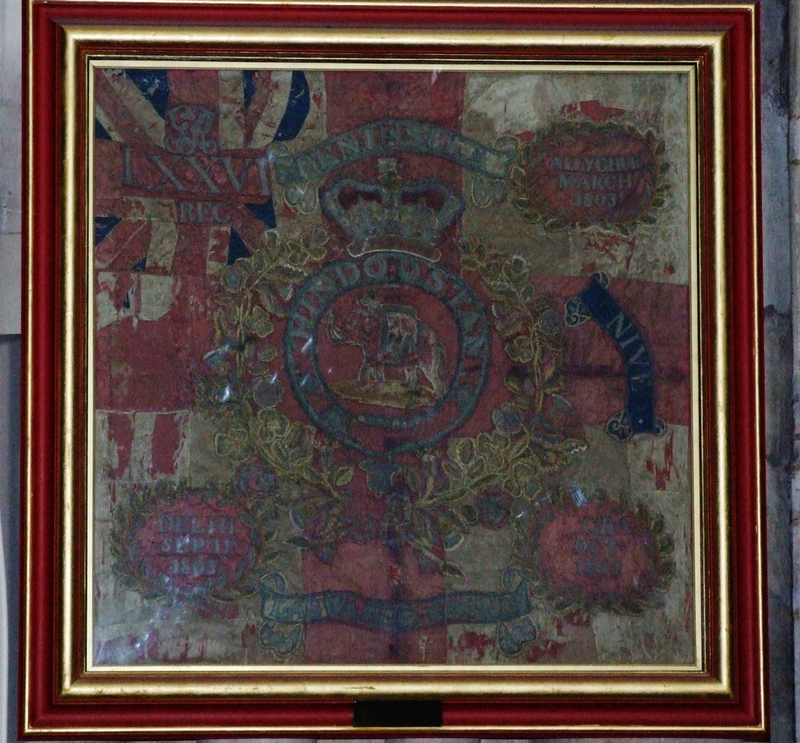 76th Foot Honorary Colour, presented in 1830, on display in York Minster, within the Regimental Chapel