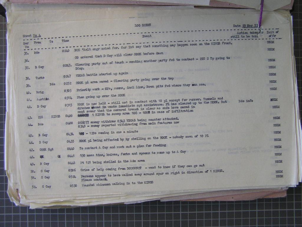 Regimental War Diary 29th May 1953