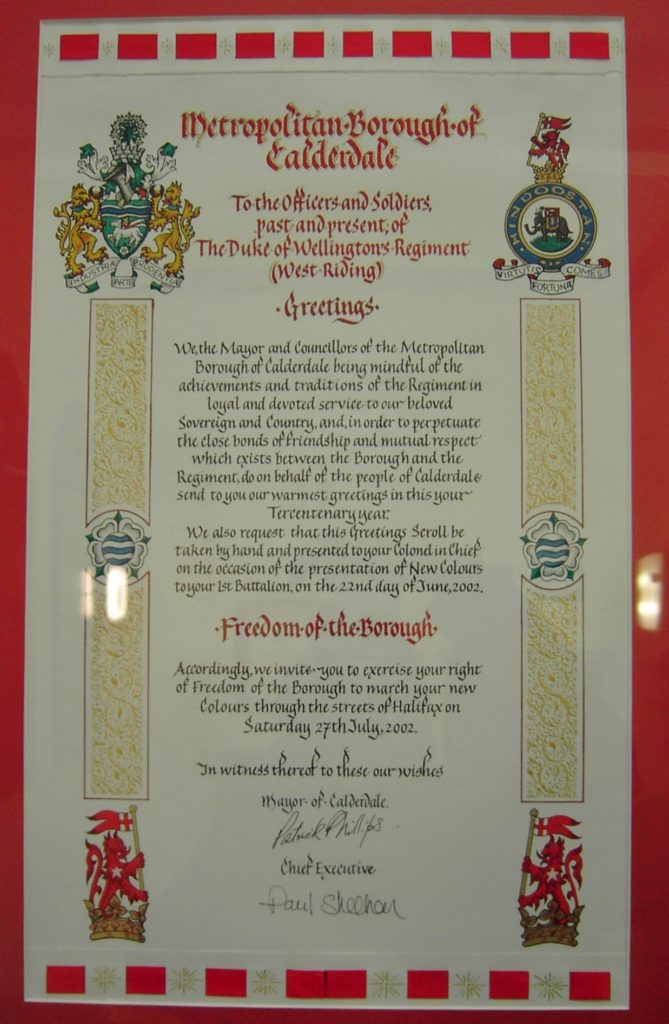 Calderdale Tercentenary Freedom Scroll 2002
