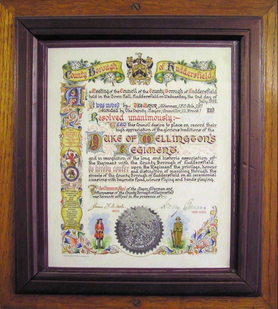 County Borough of Huddersfield Freedom Scroll 1952