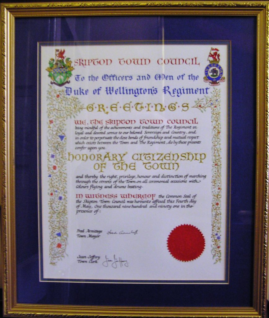 Skipton Honorary Citizenship Scroll 1991