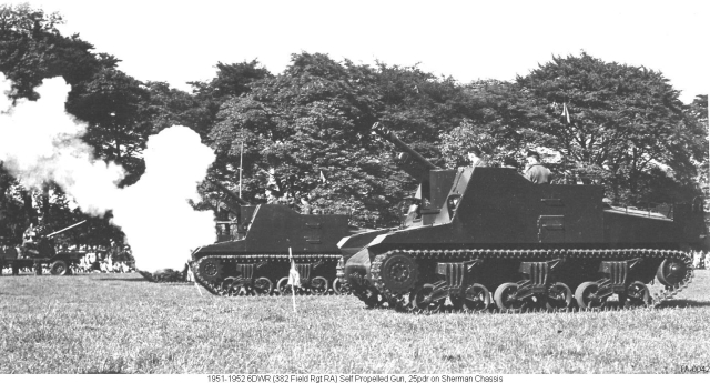TA-0042 1951-1952 UK Huddersfield 6DWR (382 Field Rgt RA) Self Propelled Gun, 25pdr on Sherman Chassis